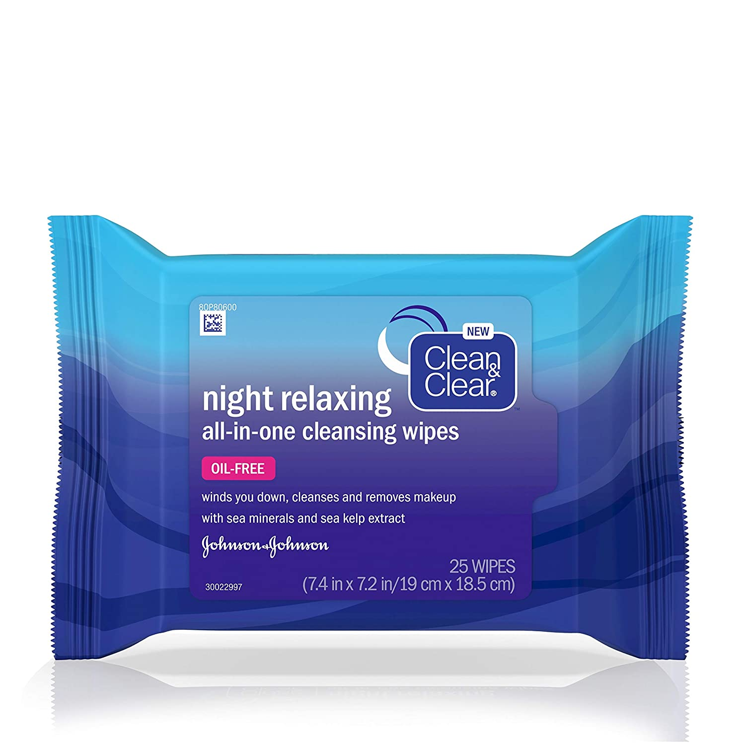 Clean & Clear Night Relaxing All-In-One Facial Cleansing & Makeup Remover Wipes with Deep Sea Minerals & Sea Kelp Extract, Oil-free, Non-Comedogenic & Ophthalmologist-Tested, 25 ct (Pack of 6)