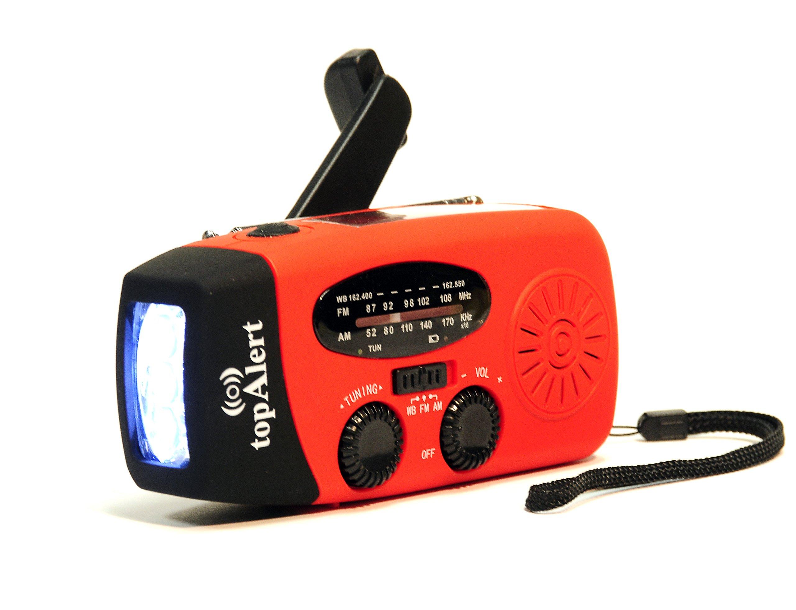 topAlert HY-88WB Emergency Dynamo Solar Self Powered AM/FM/WB(NOAA) Radio w/ LED Flashlight, Cell Phone Charger w/ USB adaptors and cords