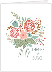 "One Jade Lane - Floral Festival-03, Designer Thank You Cards - Premium Quality - Heavy Stock - Set of 12 Folded Cards & Our ""Unique Fine Cornered Envelopes""."