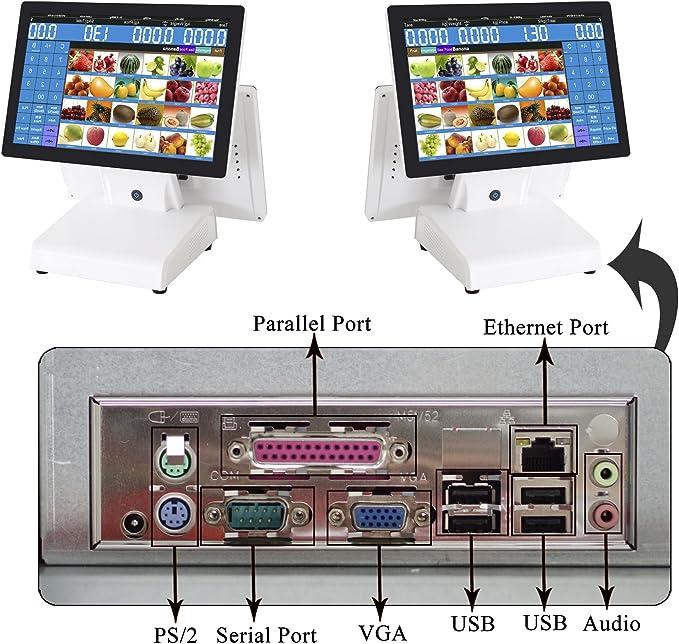 Zhongji equipo de caja, doble pantalla ordenador, caja registradora táctil para punto de venta – Conexión ap-1500d POS ordenador, 80 mm una impresora térmica para, cajón caja..., color Negro Il ny a