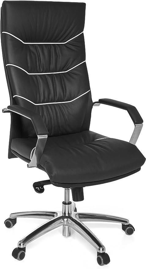 AMSTYLE Bürostuhl FERROL Echt Leder schwarz Schreibtischstuhl | Chefsessel mit Kopfstütze & Multiblockmechanik | Design Drehstuhl verstellbar & hohe