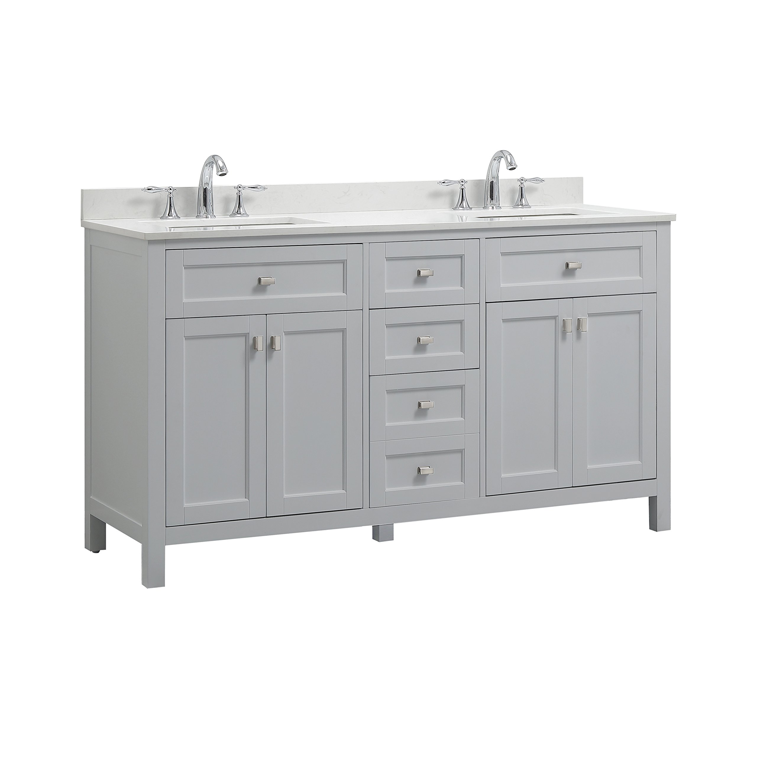 CAHABA CA101015 Juniper Collection Vanity with Top, Dove Grey Vanity/White Top/White Basin