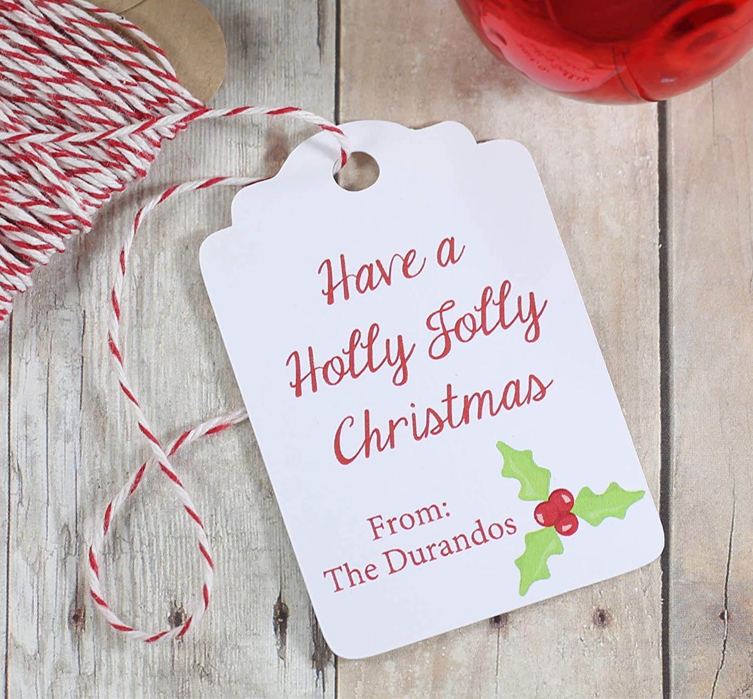 Have a Holly Jolly Christmas Tags - Personalized Holiday Labels (Set of 10)