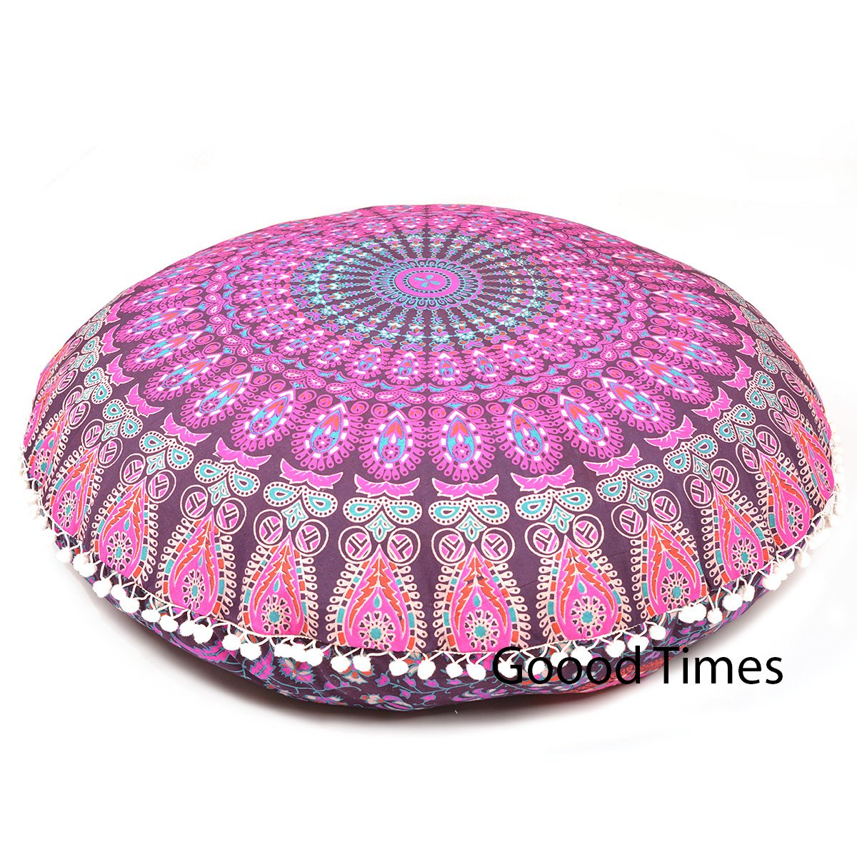 Goood Times Pink Throw Decorative Floor Pillow Cushion Cover Mandala - 32'' by Rajasthancreations