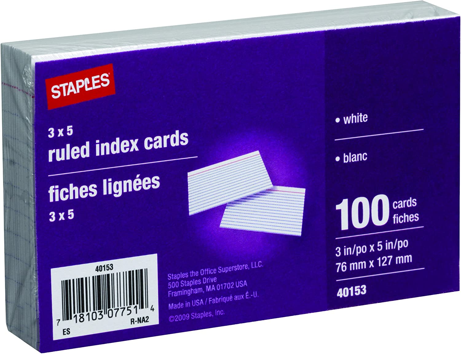 """3/"""" x 5/"""" Ruled Index Cards 100 Count Mead 10 Pack"""