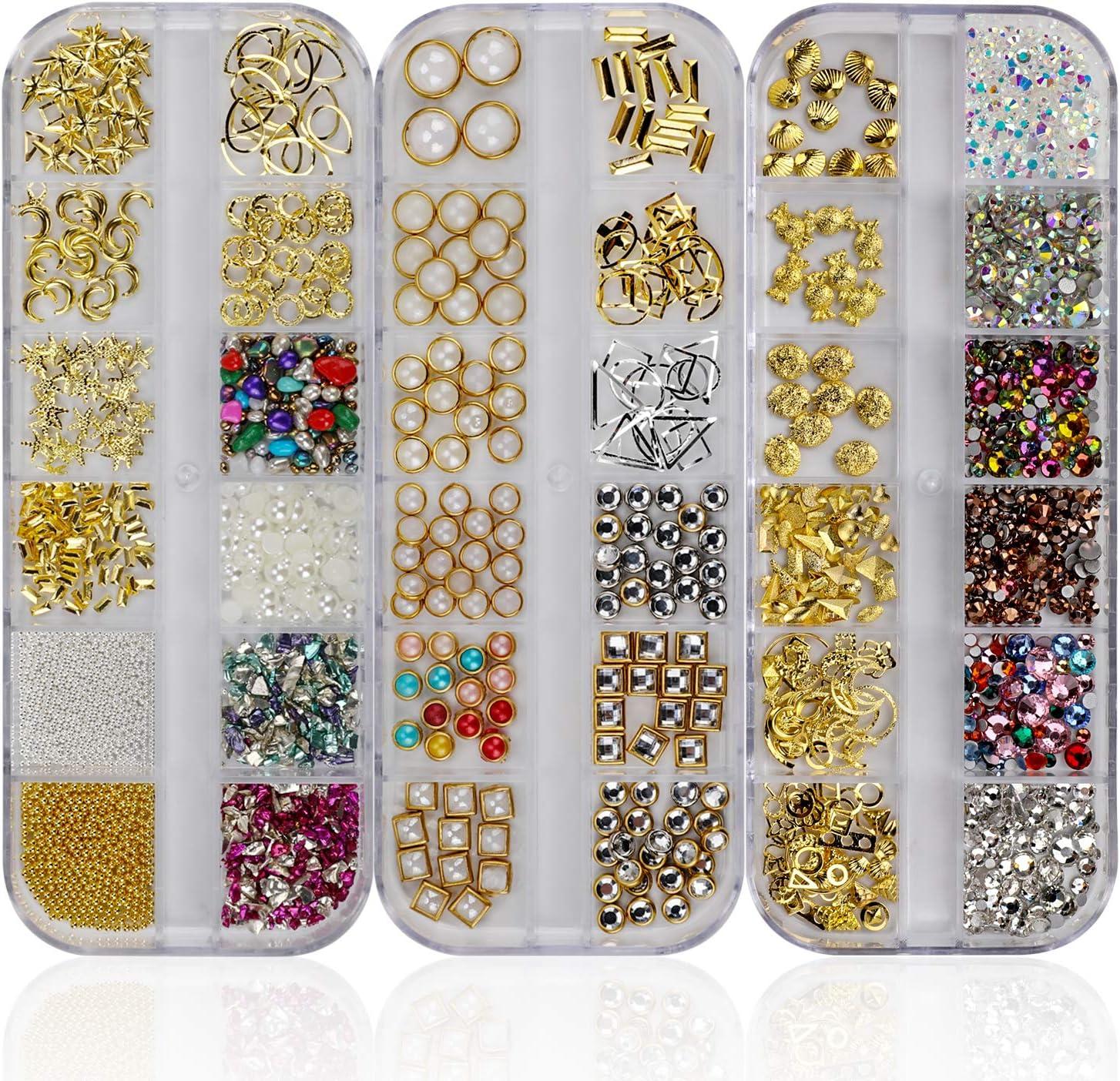 Mwoot Piedras de piedras preciosas de arte de uñas, 3 cajas de diamantes de imitación mixtas (900 piezas) para accesorios de suministros de arte de uñas
