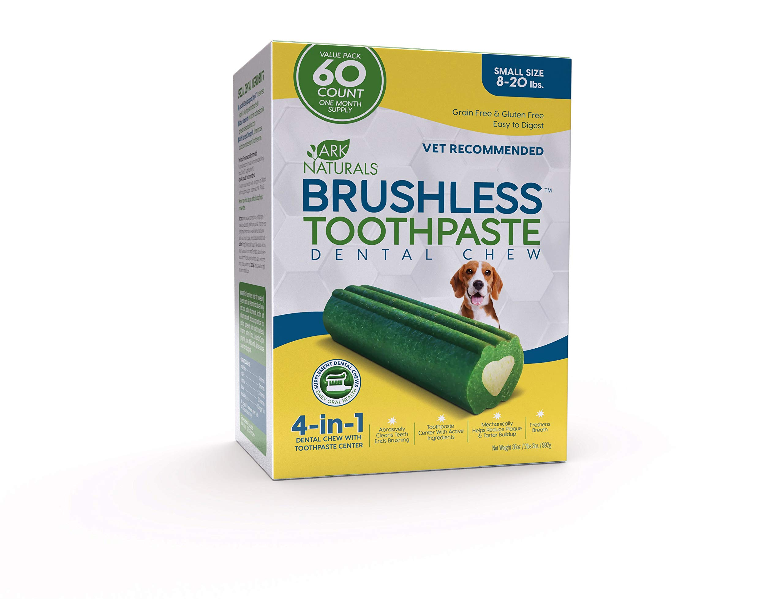 ARK NATURALS Brushless Toothpaste Value Pack, Vet Recommended Dental Chew for Small Breeds, Plaque, Tartar & Bacteria Control, Freshens Breath, One Month Supply (60Count)