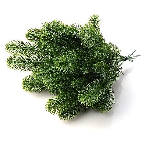Künstliche Tannenzweige, künstliche Tannenzweige, Kunststoffsträucher, Grünpflanzen, Dekoration für Kranz, Weihnachtsdekorati