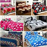 RS Home Furnishing Glace Cotton Double Bedsheet with (2x7) 14 Pillow Covers - Combo Set of 7
