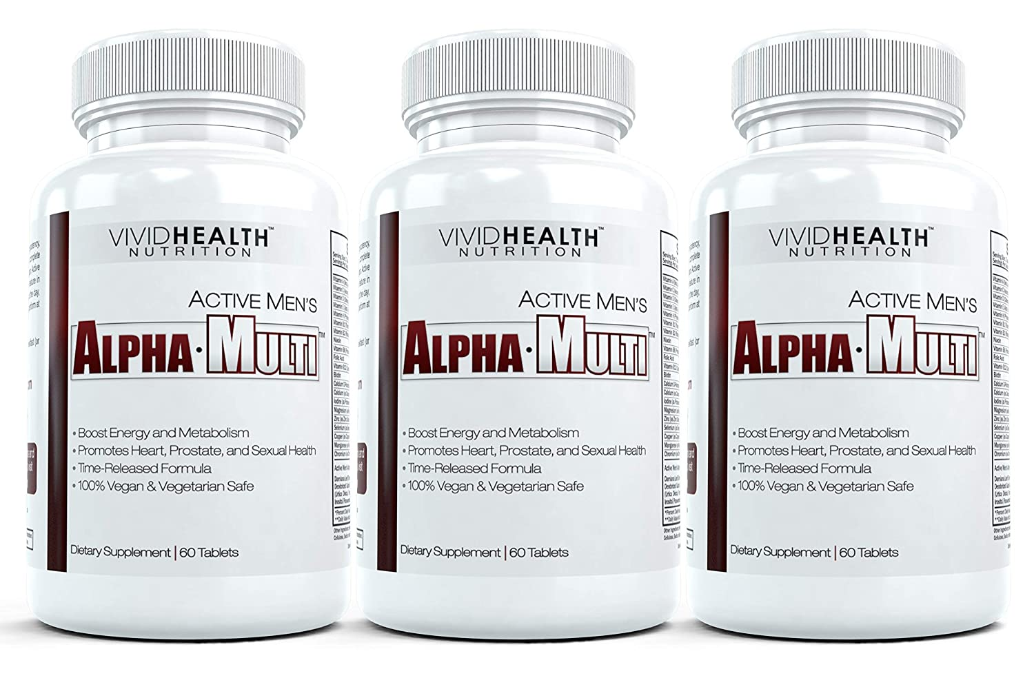 Active Men s Alpha-Multi – Complete One A Day Multivitamin for Men Supports Prostate Cardiovascular Health with Vitamin D, A, C, E, B12 Boost Energy, Libido, Virility 3 Bottles, 60 Tabs Each