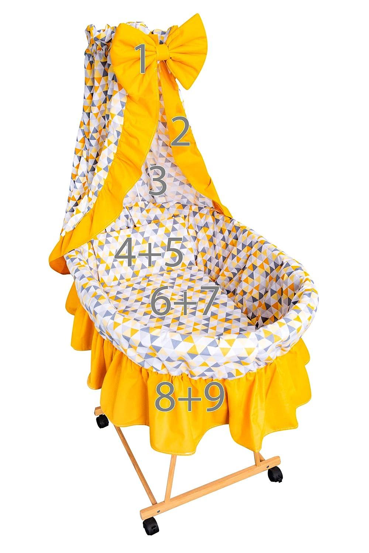 Amilian/® 9tlg Textile Ausstattung f/ür STUBENWAGEN Bollerwagen Himmel Matratze Baby Bettw/äsche B/ären MINI Grau//Pepita Grau