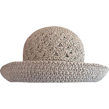 cc1986c3051 Ladies Packable Summer Straw Sun Hat with Turn Up Brim (Grey ...