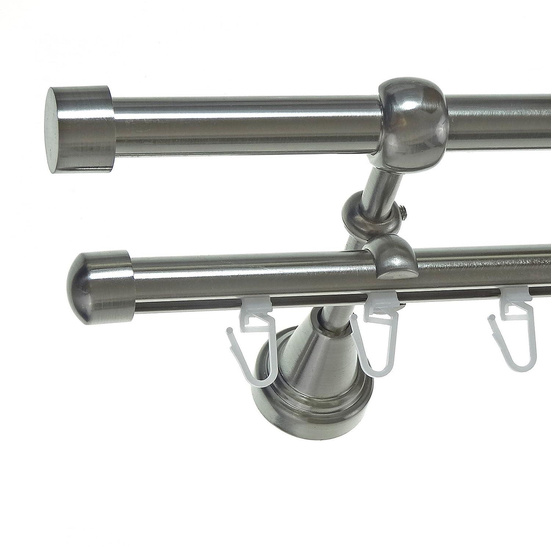 Rohr + Innenlauf Gardinenstange Edelstahl Look Ø 16mm zur Wandbefestigung 2-läufig Kappe, H14 E16 + B16I Länge wählbar , Länge 280 cm