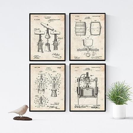 Nacnic Vintage - Pack de 4 Láminas con Patentes de Vino. Set de ...