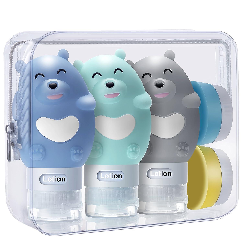TR Turn Raise Botella de Viaje, Silicona Protable Botella de Gel Bear Body 3 * 80ml/2.6oz + 2 * 20ml Envases cosméticos para Champú Bálsamo Crema de Baño Loción