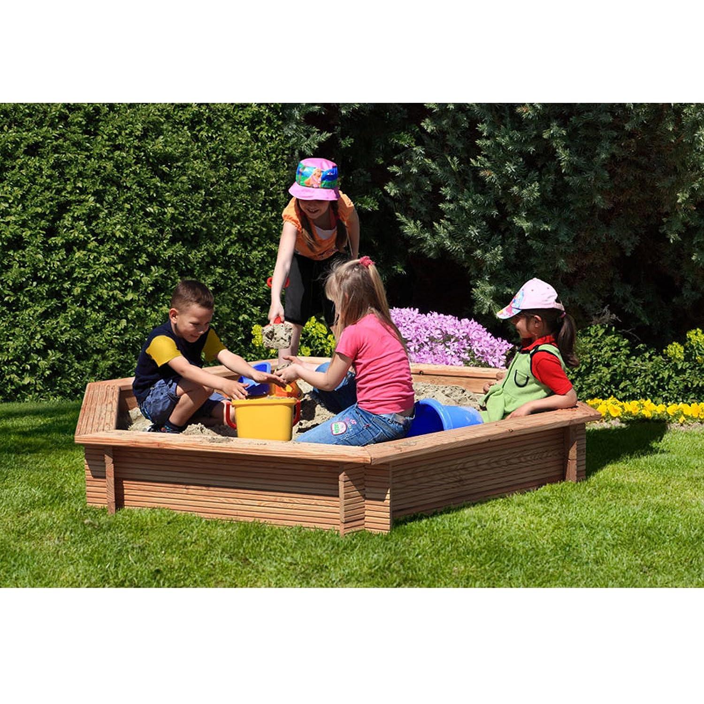 Gartenpirat® Premium - Sandkasten 6-eckig aus Holz Lärche unbehandelt Ø 230 cm