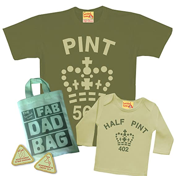 7d443e73 Matching Pint & Half Pint T shirt Set for Father & Son or Daughter - Army  Toffee - with Fab Dad Goody Bag and extra dad treats.: Amazon.co.uk:  Clothing