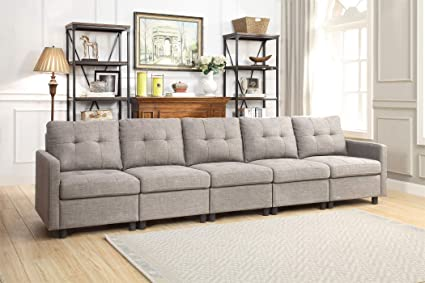 Modular 5-Piece Sectional Sofa Linen Fabric Living Room Furniture  Interlocking Sofa Set (5-Piece Sofa)