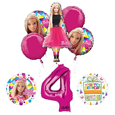 Mayflower Barbie 4th Birthday Party Supplies and Balloon Bouquet Decorations: Toys & Games