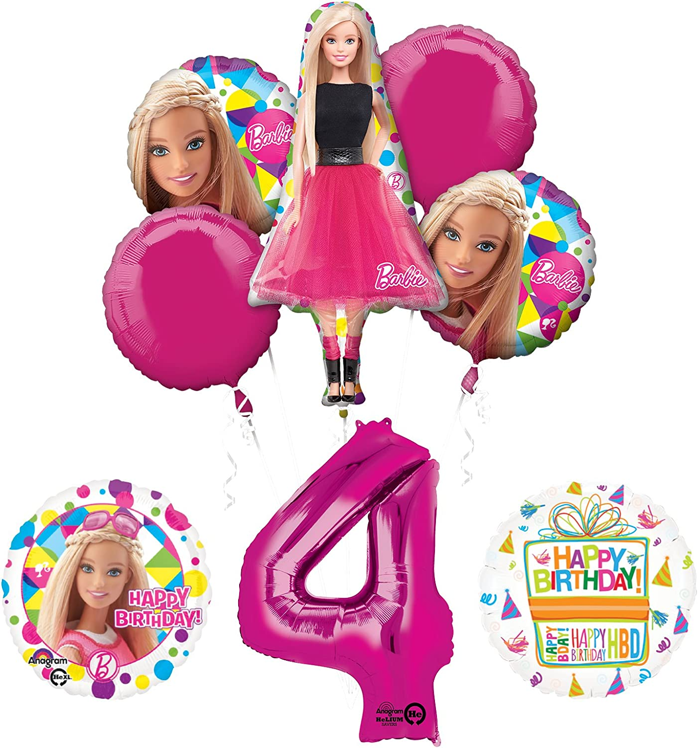 Barbie 4th Birthday Party Supplies and Balloon Bouquet Decorations