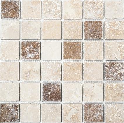 mosaico piastrelle di rete quadrato chiaro + Noche Travertine ...
