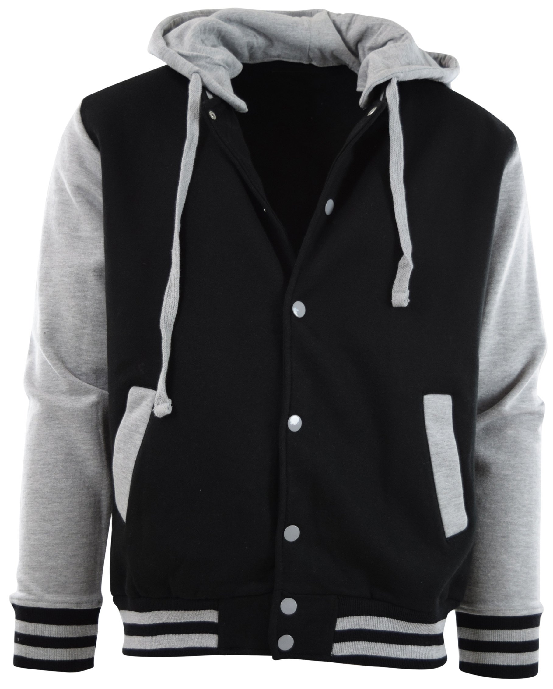ChoiceApparel Mens Baseball Varsity Jacket with Detachable Hoodie (S, BJ01-Black/Grey) by ChoiceApparel
