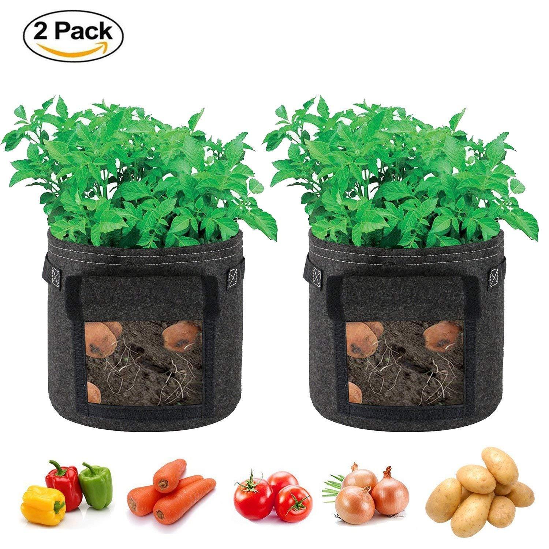 SingPad Potato Grow Bags,2-Pack 7 Gallon Garden Vegetables Planter Bags for Growing Potatoes,Taro,Radish,Carrots,Onions (Black)
