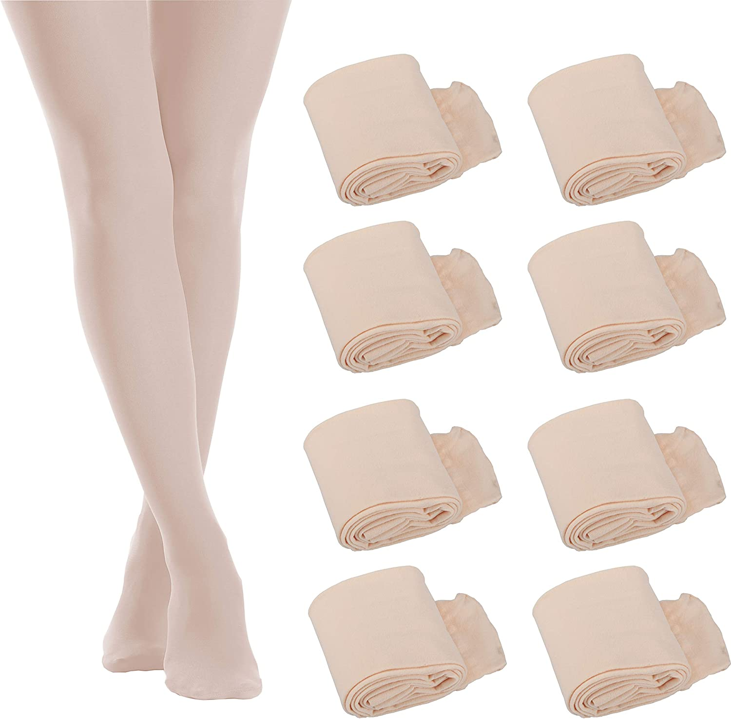 8 Pairs Girls Dance Tights Soft Pro Ballet Dance Tights Footed Pantyhose for Toddler Kids Girls