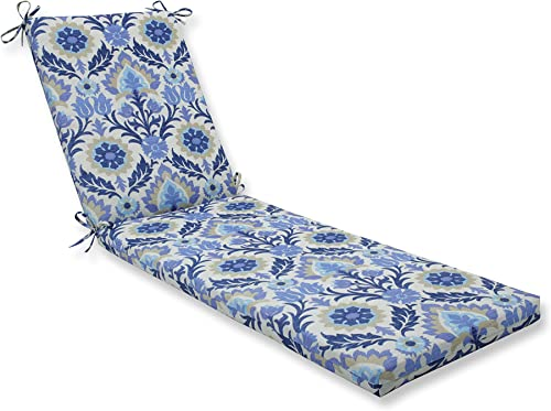 Pillow Perfect Outdoor Indoor Santa Maria Azure Chaise Lounge Cushion 80x23x3,Blue