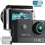Vtin Action Camera HD 1080P 16MP Waterproof Underwater Sports Camera Ultra 170° Wide Angle 2.0 inch LCD Display (HD - Black)