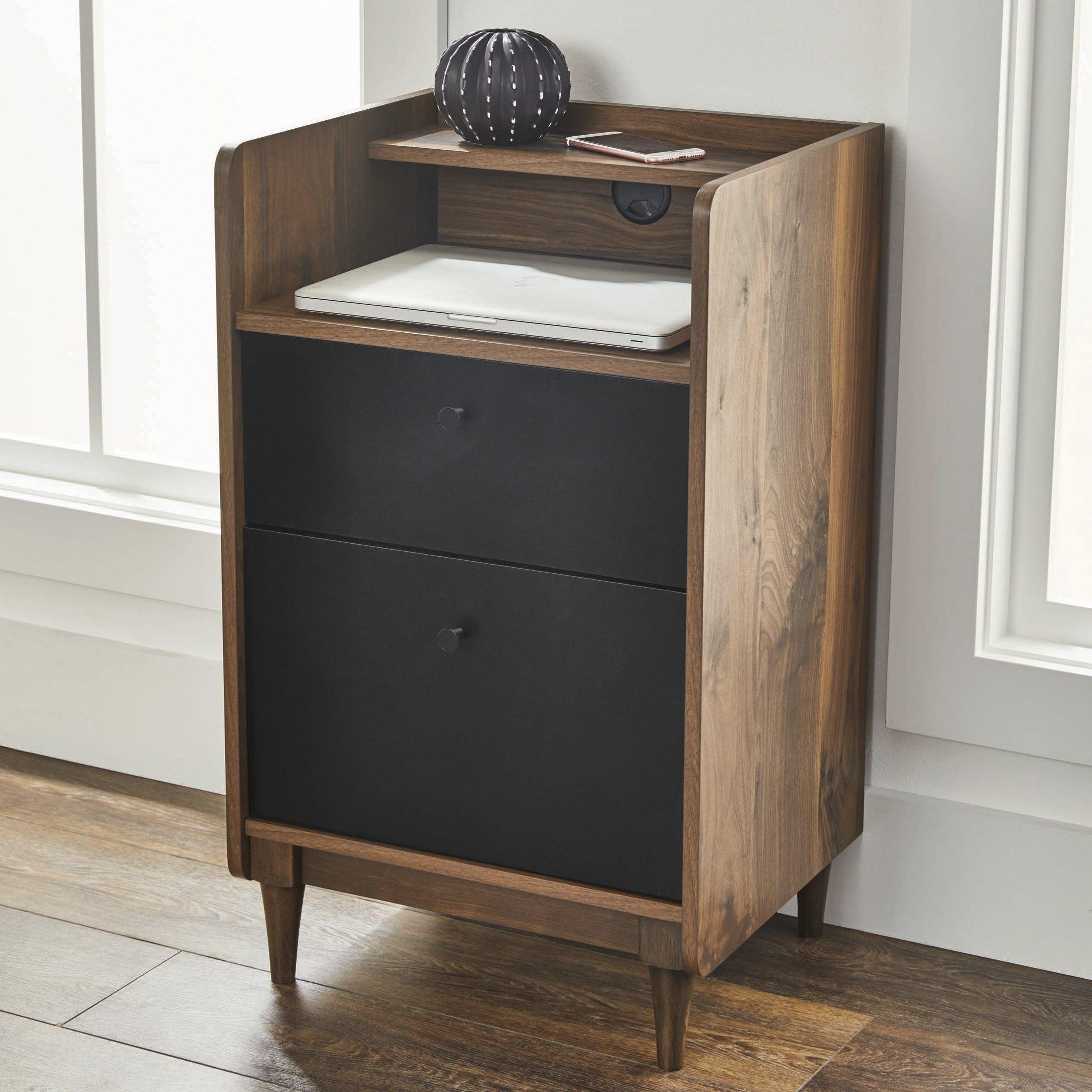Better Homes and Gardens Montclair Pedestal File Cabinet, Vintage Walnut Finish
