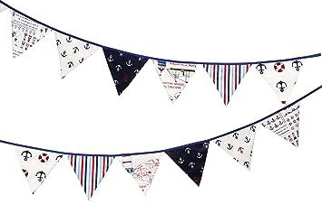 Kalinka Bunting Banderines con Motivos nautischen, Dekoratives Banner de algodón 100% con 12 Banderas