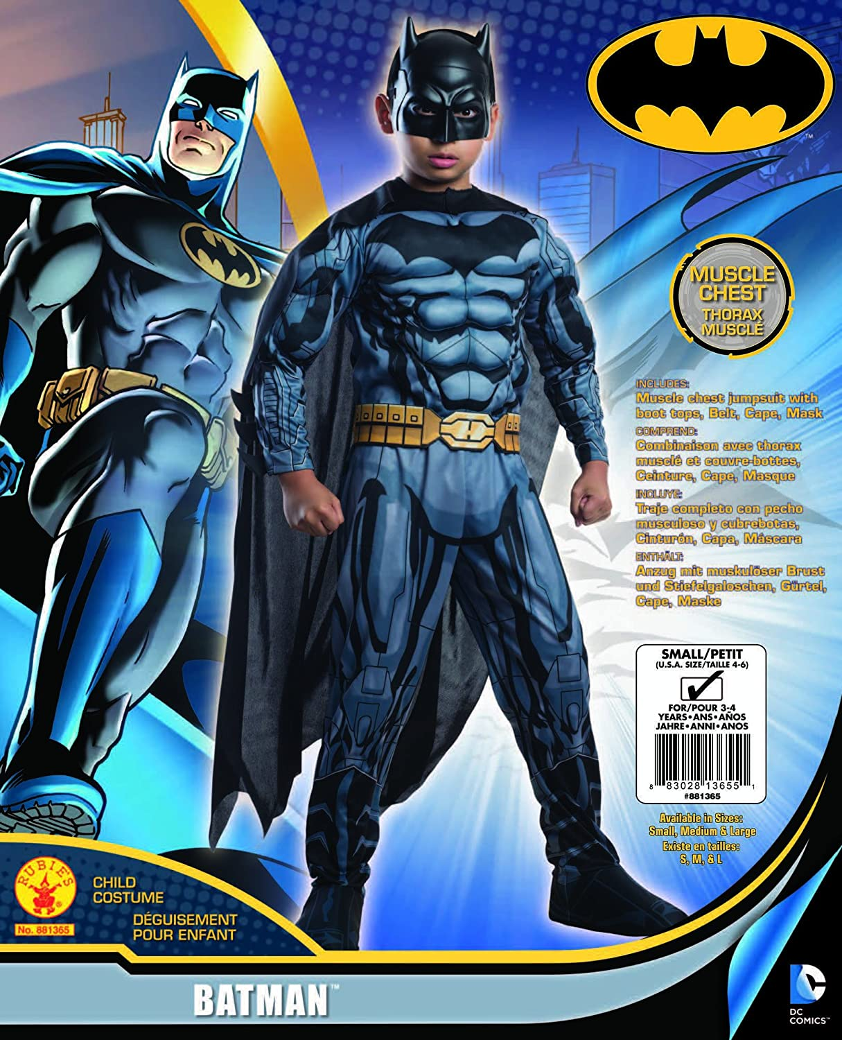 Amazon.com: Rubies DC Comics Deluxe Muscle-Chest Batman Costume, Child Small: Toys & Games