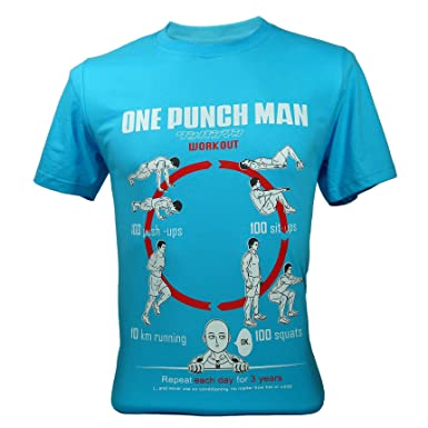 d7f19f42 Men's One Punch Man Saitama Workout Training To Be Bald Funny T-Shirt Blue  Small