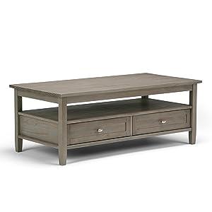 Simpli Home AXWSH001-GR Warm Shaker Solid Wood 48 inch wide Rustic Coffee Table in Distressed Grey