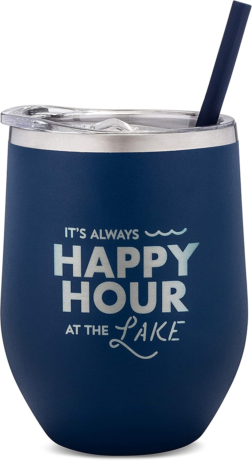 SassyCups Lake Wine Tumbler   It's Always Happy Hour At The Lake Engraved Stainless Steel Stemless Wine Glass with Lid and Straw   Lake Cup   Lake Tumbler   Lake Housewarming (12 Ounce, Navy)