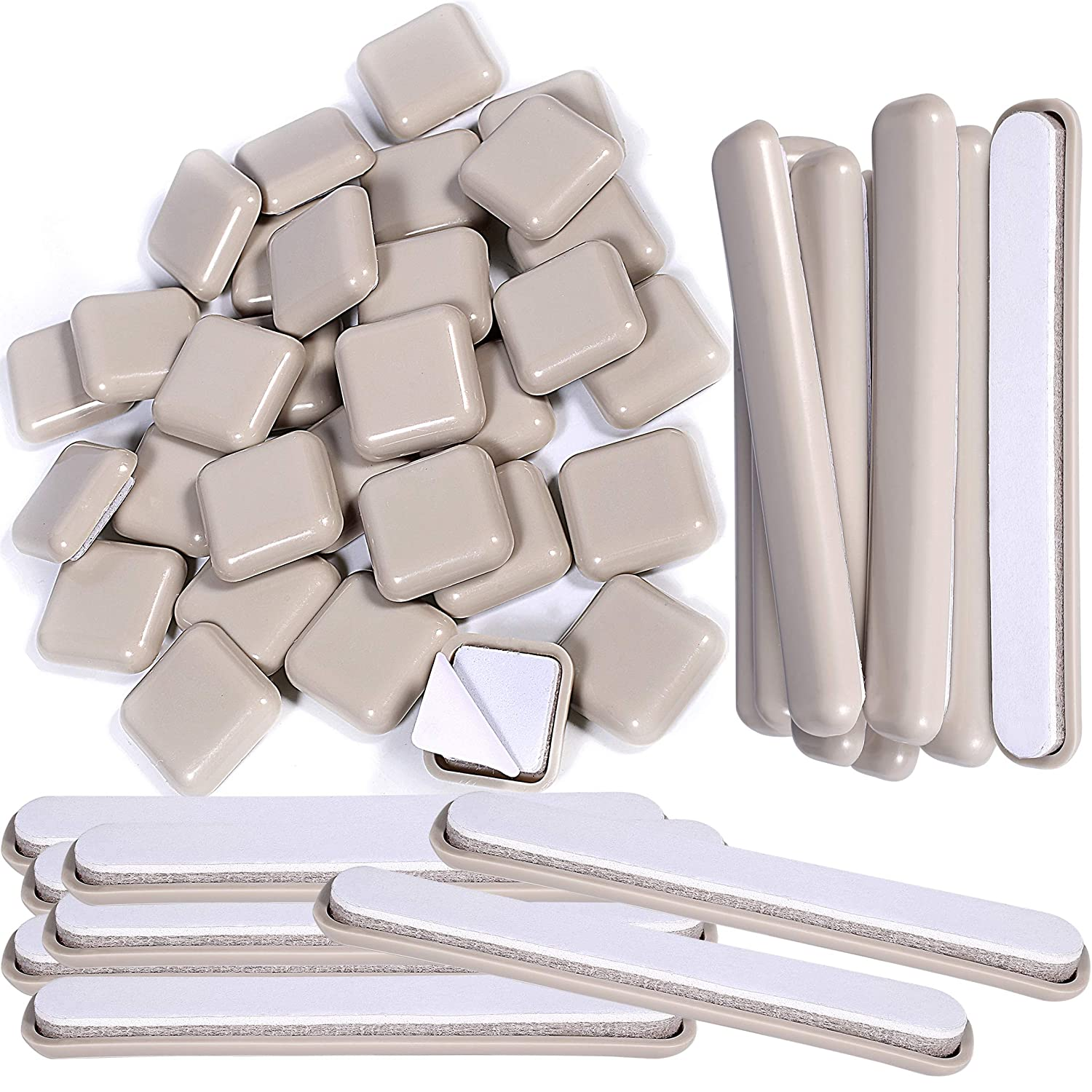 """Liyic 48 Combo Pack Self-Stick Carpet Gliders for Chair-32PCS 1inch Square Self Adhesive Furniture Glides&16PCS 1/2""""X4"""" Bar Furniture Moving Slider-Slider for Furniture-Carpet Slider-Furniture Slider"""