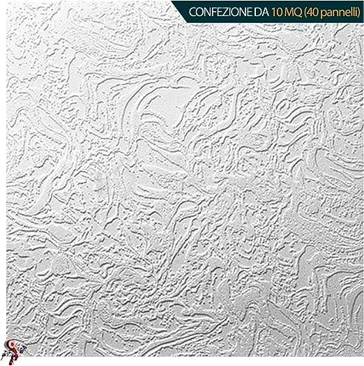 dimensioni 50x50cm decosa LILLE Pannello polistirolo decorativo per soffitto e parete effetto 3D isolante termico Confezione da 10mq 40 pannelli spessore 1cm