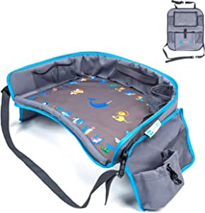 Moditty   Kids Travel Tray Bundle with Back Seat Car Organizer   Activity Play Table for Toddlers in Car Seats, Airplanes, Strollers (Blue)