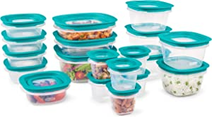 Rubbermaid EasyFindLids with Press & Lock Leak Proof Lids Food Storage Set, Meal Prep Containers, 38 Piece, Clear