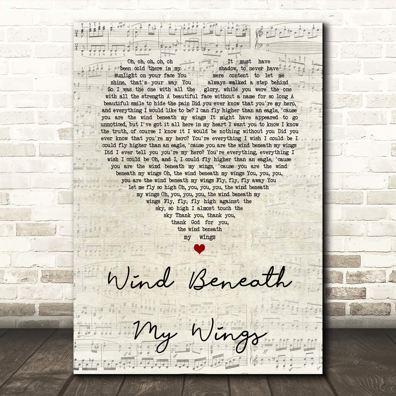 Wind Beneath My Wings Script Heart Song Lyric Quote Wall Art Gift Print