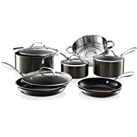 GOTHAM STEEL Platinum Cast 10 Piece Pots and Pans Kitchen Cookware Set with Ultra Nonstick Diamond Surface, Oven…