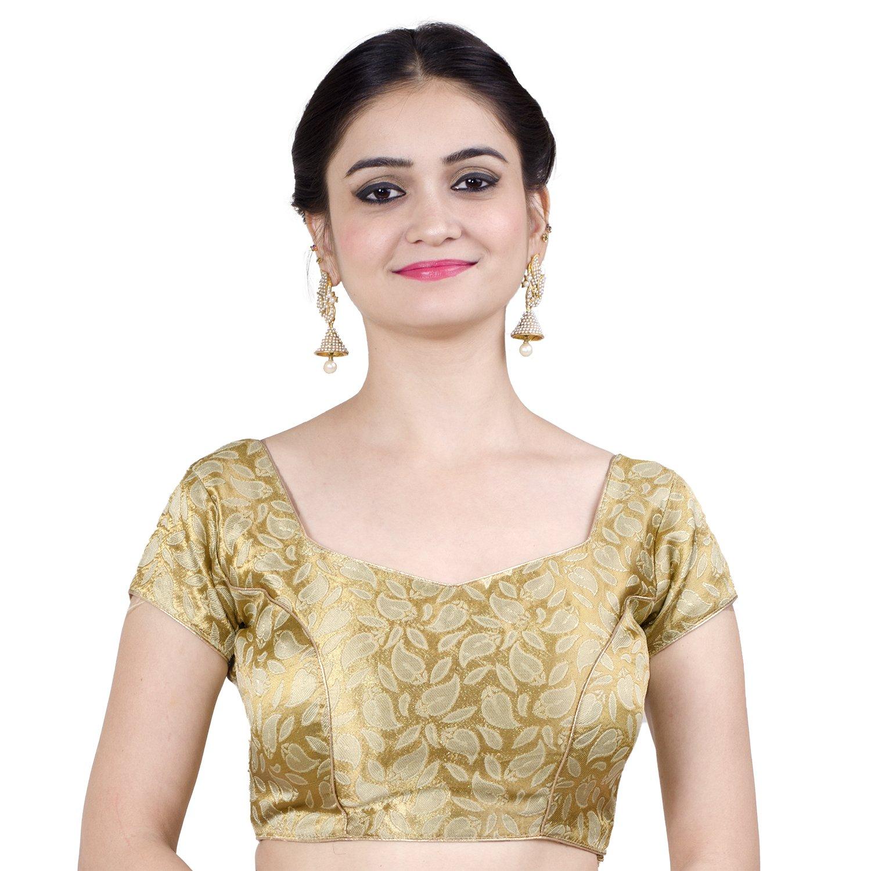Chandrakala Women's Designer Bollywood Readymade Gold Saree Blouse Padded Brocade Choli (B114GOL3)