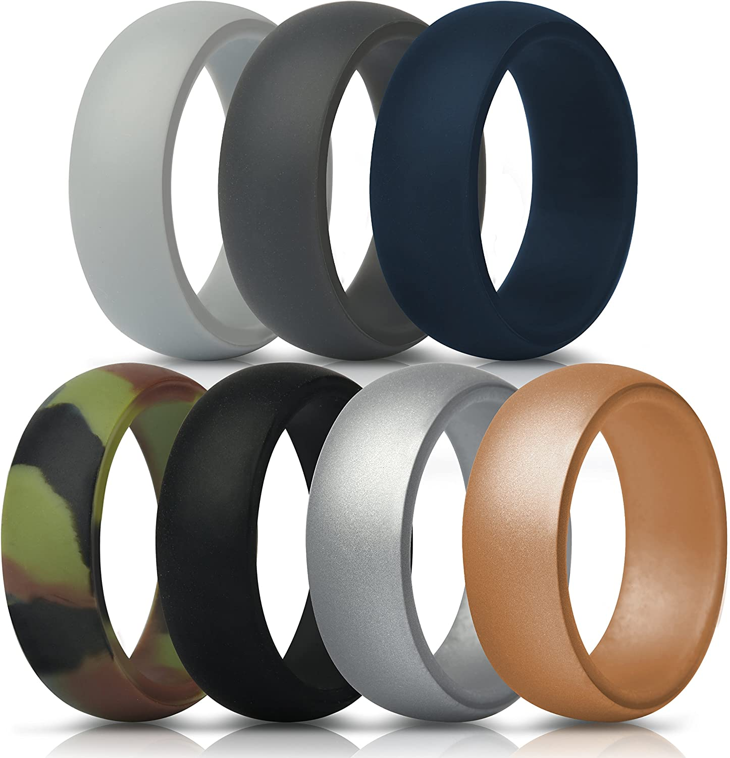 7 Rings // 4 Rings // 1 Ring 8.2mm Width 2.5mm Thickness ThunderFit Silicone Wedding Rings for Men Engraved Middle Line Beveled Edge Rubber Engagement Bands Duo Collection