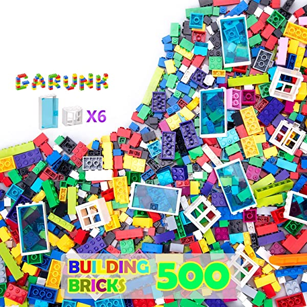 FIFTHMIN 4 Pack Stores City Building Blocks Building Bricks Party Favors Educational House Building Kit Birthday Gifts for Kids 503 PCS