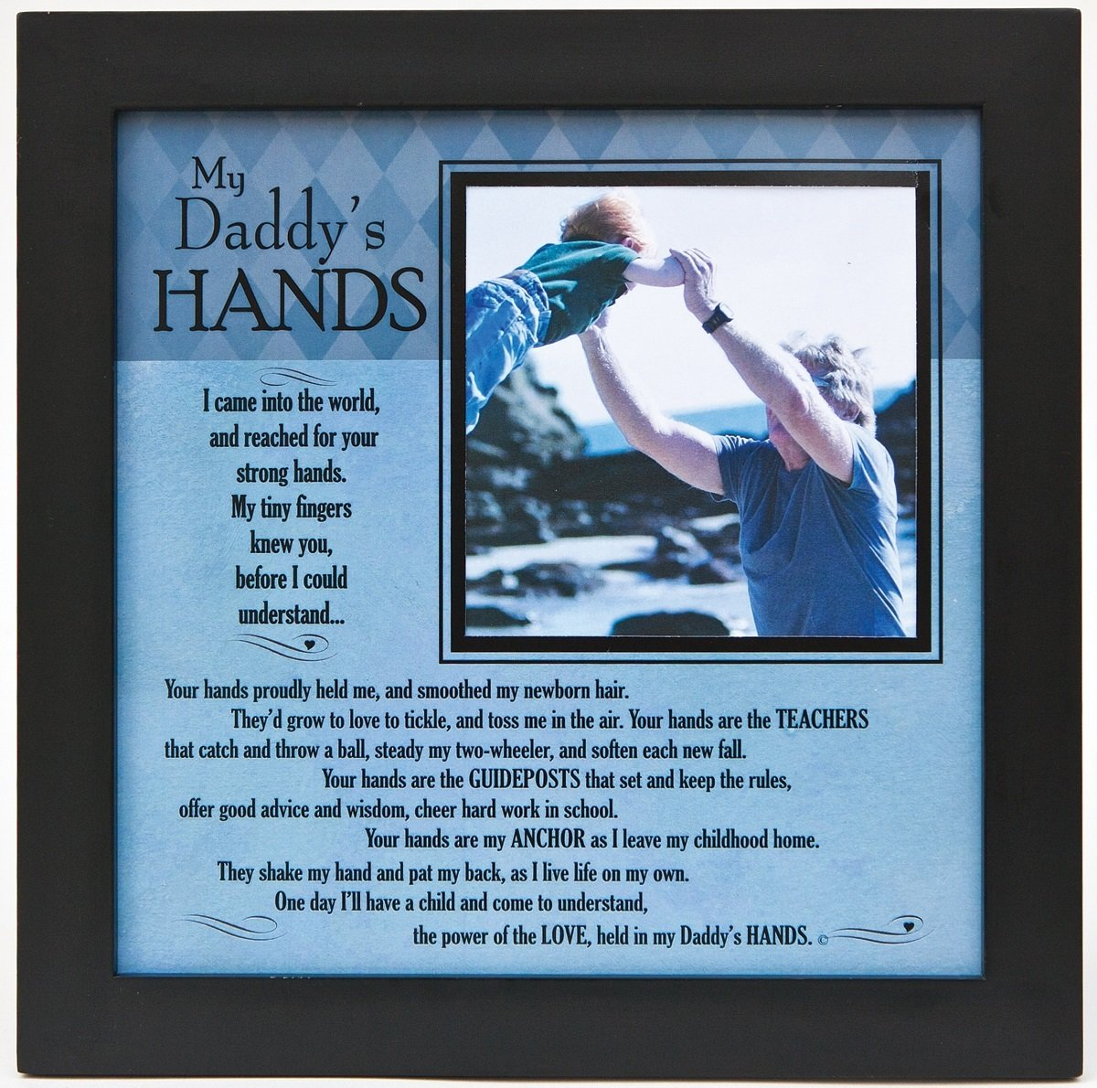 Grandparent Gifts My Daddy's Hands black wall/table frame Space for photo 8''x8''