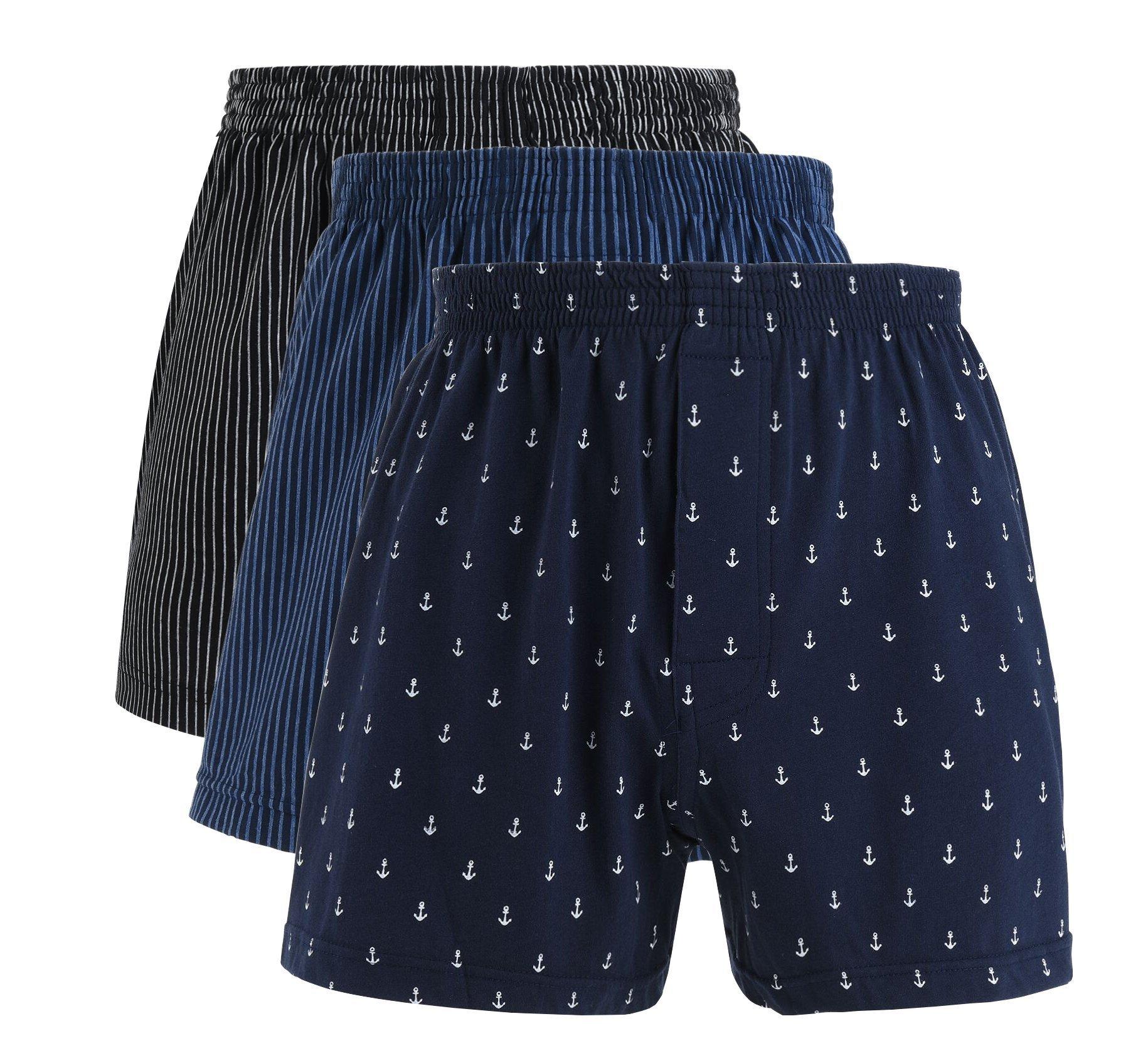 """VRLEGEND 27-38"""" Waist Boxers Brief Men Cotton Underwear 3-Pack (M=27-29'' Waist)"""