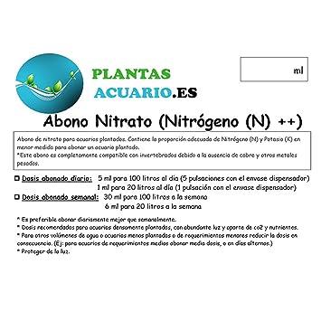 Abono Líquido Nitrato Acuario (Nitrógeno (N) ++) 500 ML: Amazon.es: Jardín