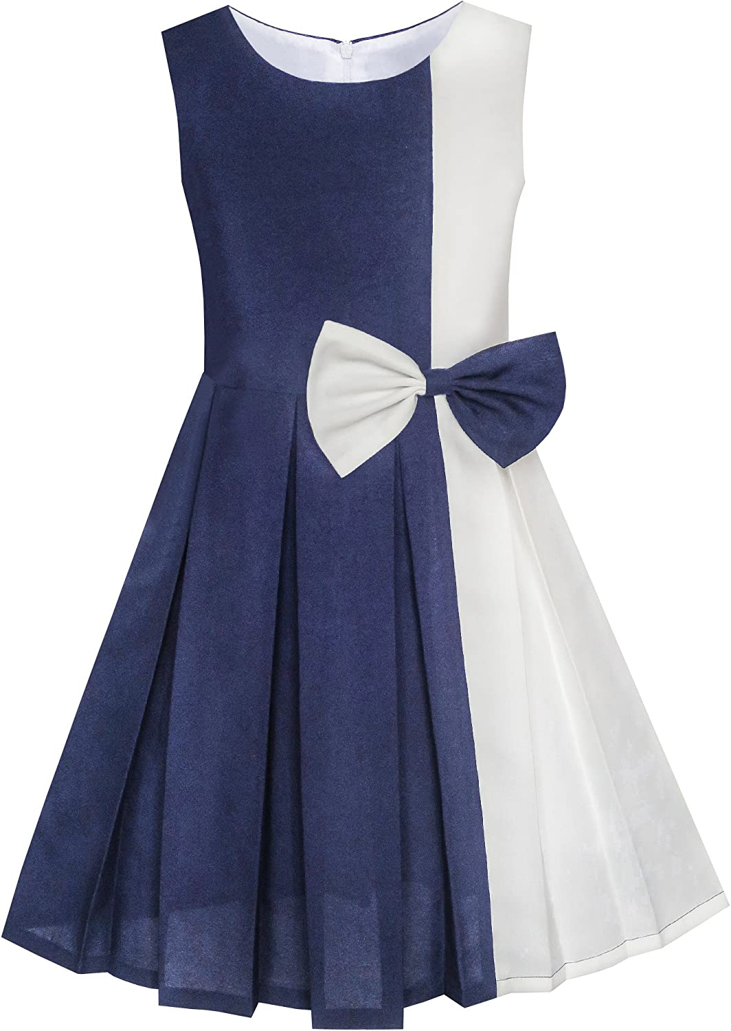 Sunny Fashion Girls Dress Color Block Contrast Bow Tie Everyday Party Age 4-14 Years