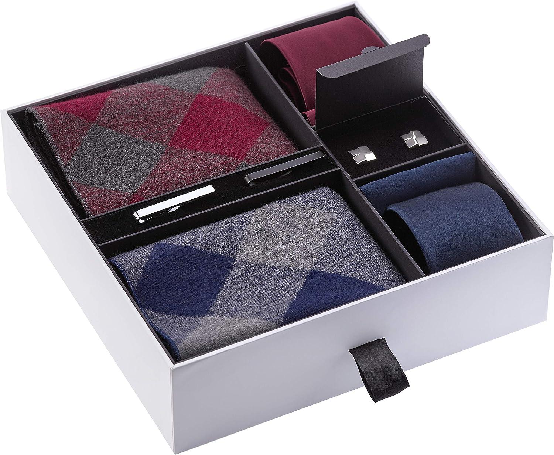 Premium Men/'s Gift Tie Set Fashion Scarf Silky Necktie Cufflinks Pocket Squares Clips For Men